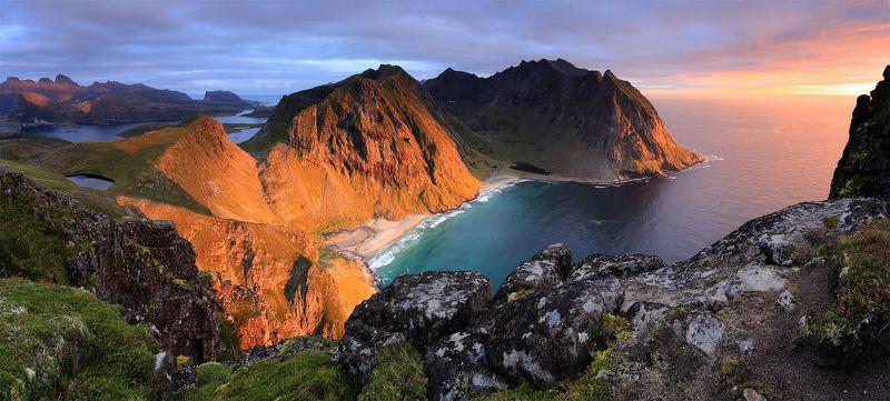 лофотены, норвегия, горы, море, сентябрь, закат Свет Севераphoto preview