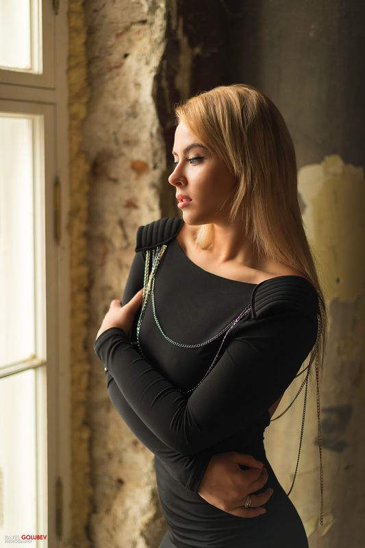 golubevphoto, girl, dress, church, window, blond, russia, model Ксенияphoto preview