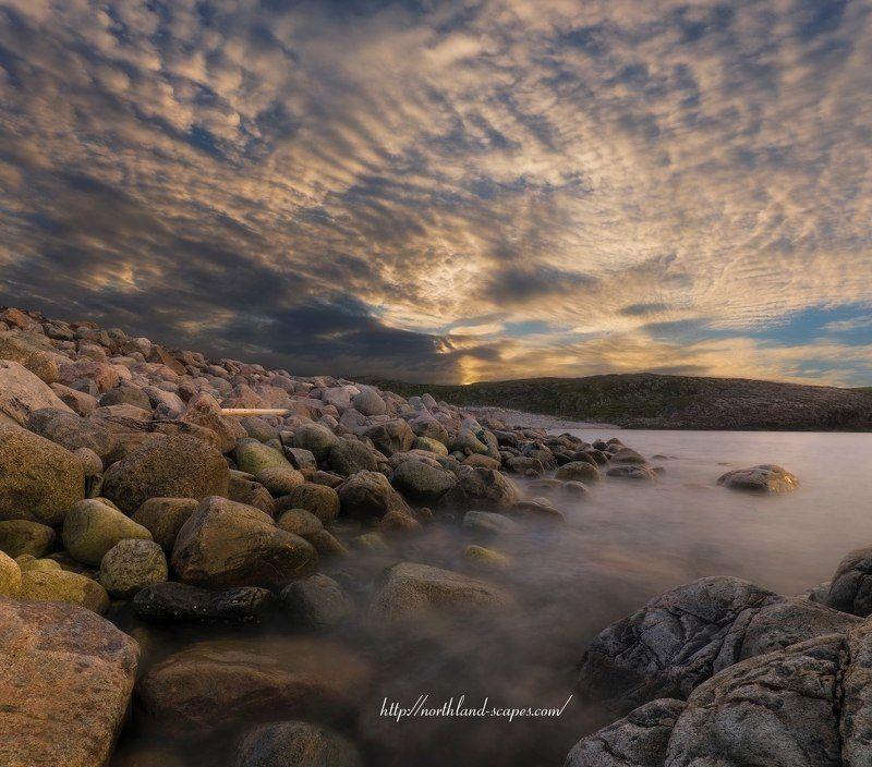 Кольский полуостров, Дальние зеленцы, закат, Баренцево море Баренцево  мореphoto preview