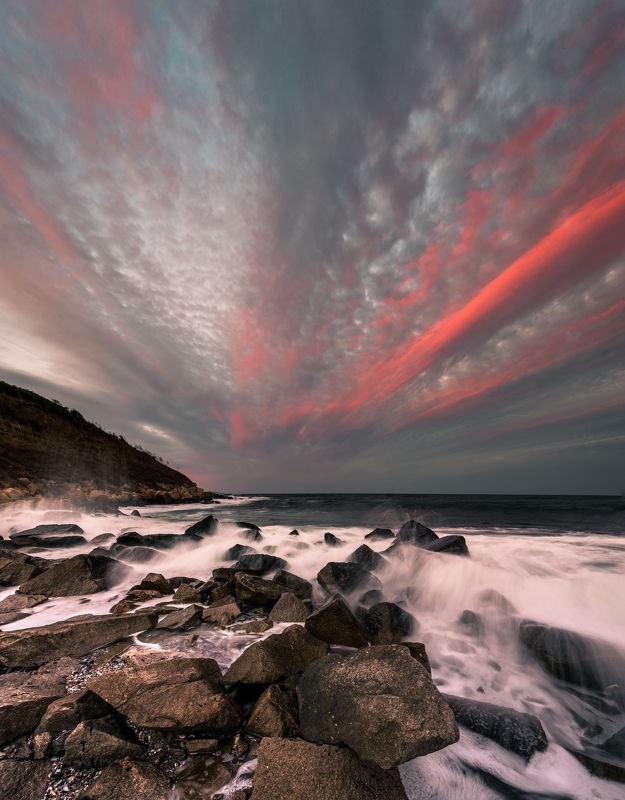 sunset, landscape, red, color,wave, sea, storm, outdoor Sunset in septemberphoto preview