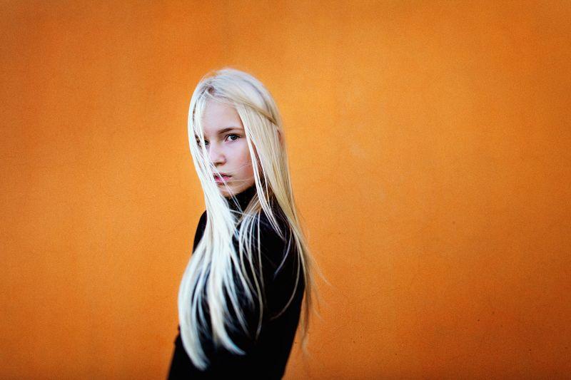 color, orange, model, modeltest, shoot, blonde, girl, beauty, Эльф на оранжевомphoto preview