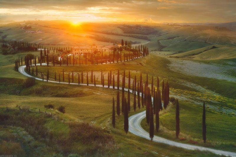 италия, тоскана, закат, природа, путешествие, ландшафт Последние лучи уходящего солнца Тосканыphoto preview