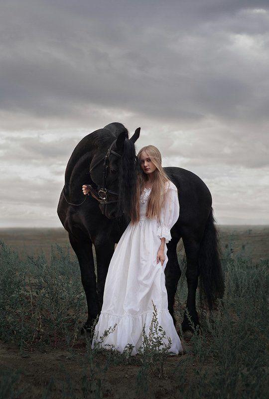 sky, russia, girl, sunset, light, clouds, beautiful, animal, white, model, black, hair, long, horse, wildlife Horsephoto preview
