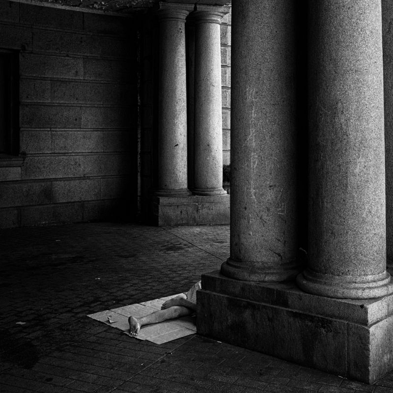 black and white , street , street photography sleeping manphoto preview