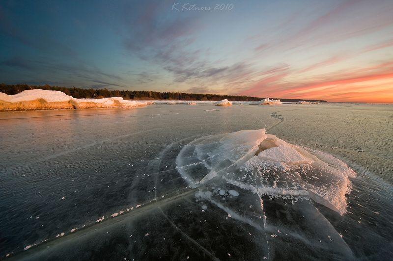 sea seascape ice snow winter sky clouds reflection sunset evening latvia The Ice Volcanophoto preview