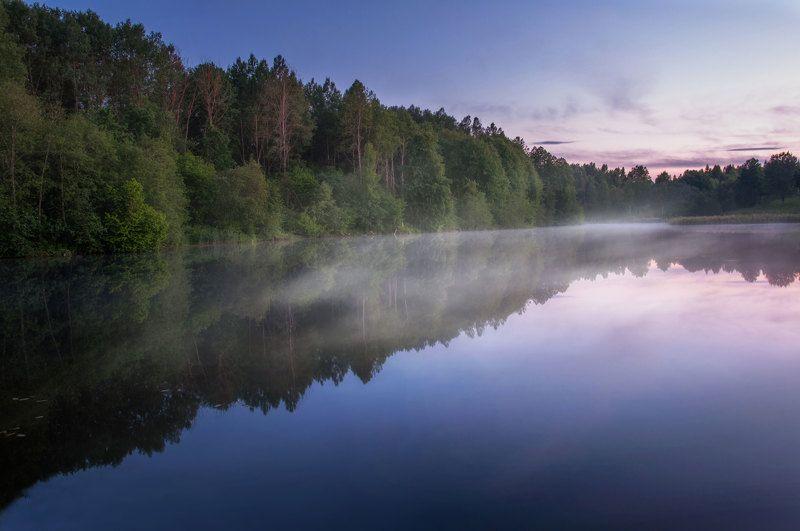 природа, пейзаж, вечер, туман, лето, вода Тишинаphoto preview