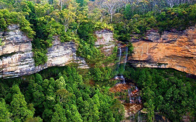 водопад, blue, mountains Вода точит каменьphoto preview