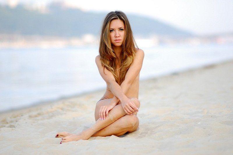 девушка, модели, утро, пляж photo preview