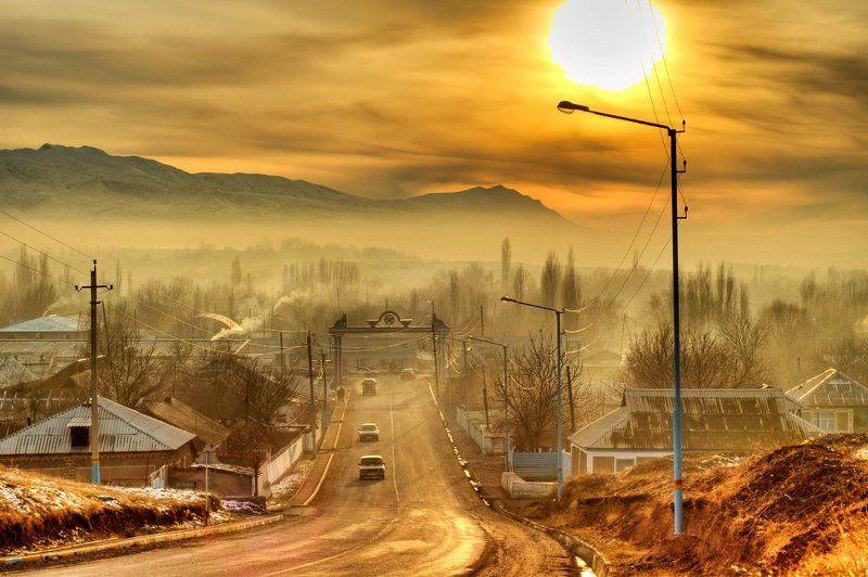 город, дорога, закат, солнце Сонная лощинаphoto preview