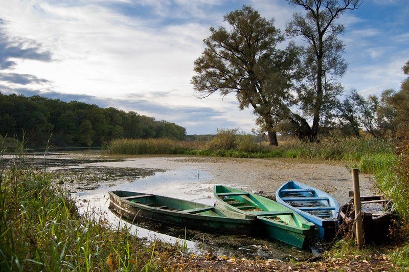 Осенний пейзаж с лодкамиphoto preview