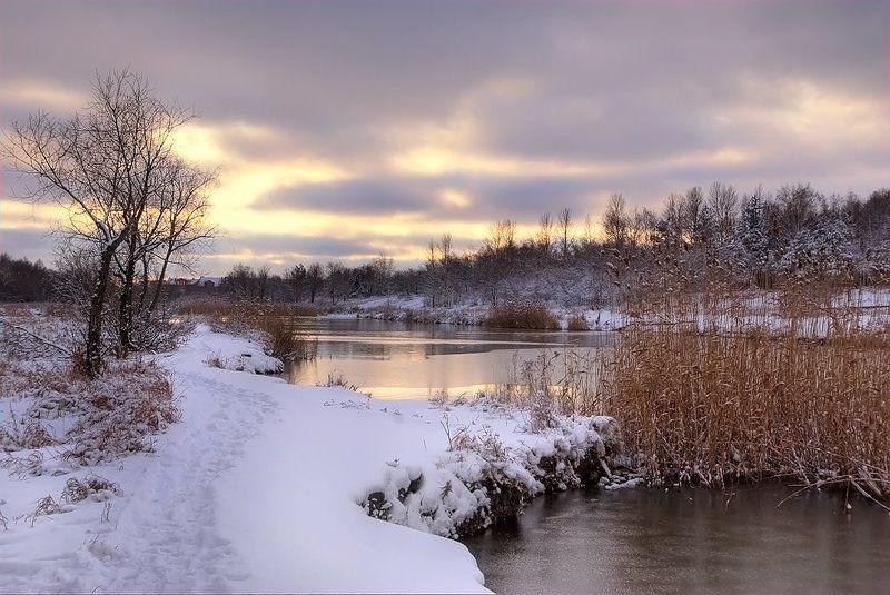 природа, пейзаж, зима, закат, снег На пороге уже...photo preview