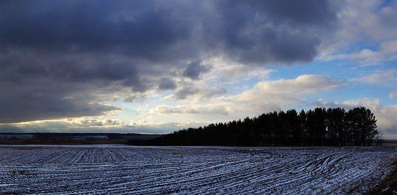 природа, зауралье, пейзаж, первый, снег, поле, лес, облака Первый снегphoto preview