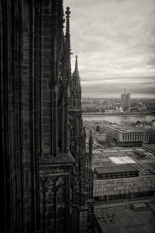 германия, кёльн, собор, архитектура, готика, вид, здание, река, горизонт, облака, осень, высота, dyadyavasya Инь и янь городаphoto preview