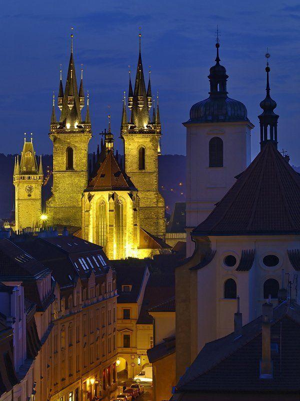 вечер, закат, ночь, прага, храм kostel panny marie pred tynem, prague, czech republicphoto preview