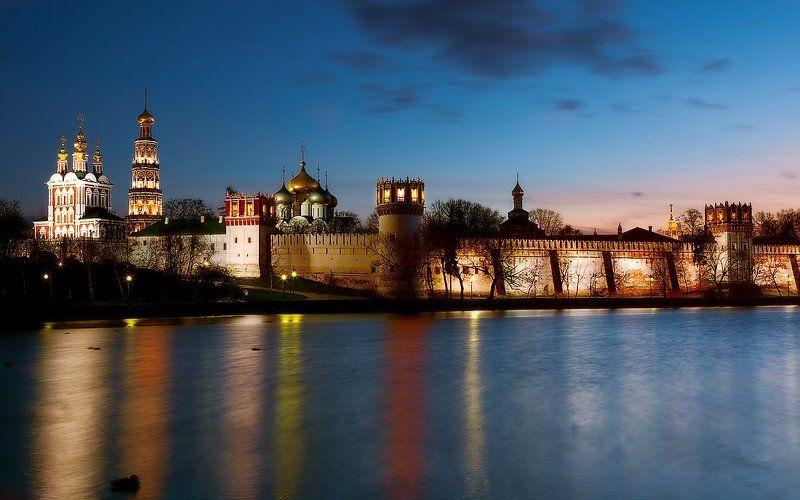 новодевичий монастырь, москва, вечер, ночное фото радуга...вечер...монастырьphoto preview