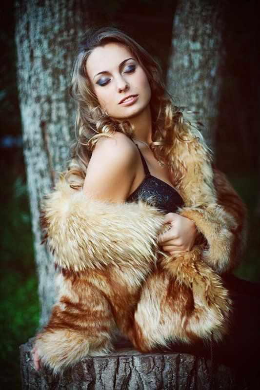 девушка, юля, глаза, макияж, шуба, мех, лес *****photo preview