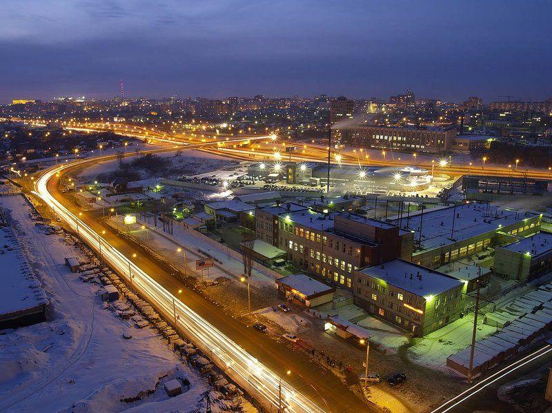 ночной, город, вечер Оранжевые улицыphoto preview