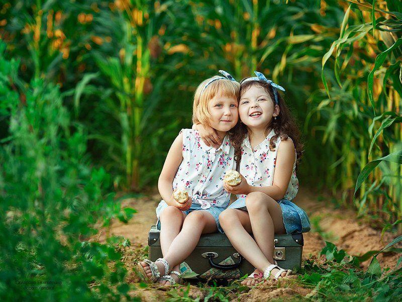 кукурузное поле, подружки, дружба, детский фотопроект Вместе веселоphoto preview
