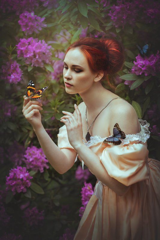 garden butterfly girl portrait Revenaphoto preview