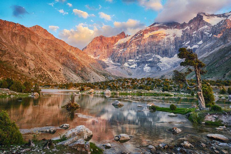 пейзаж, путешествия, горы, природа, озеро, таджикистан, фанские горы, закат Горное озероphoto preview