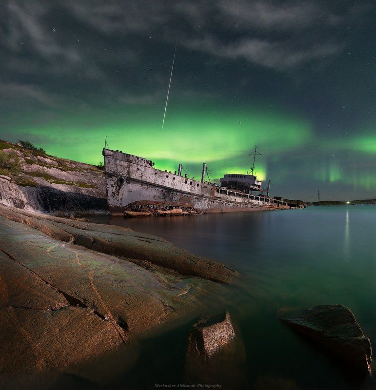 полярное сияние, заполярье, побережье ***photo preview