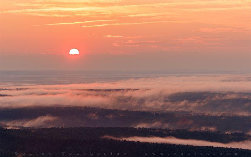 лето, пейзаж, закат, восход, туман, солнце, облака, небо, животные, собака, горы, высота, воздух, лес, камни Вечер и утро на горе Полюдphoto preview
