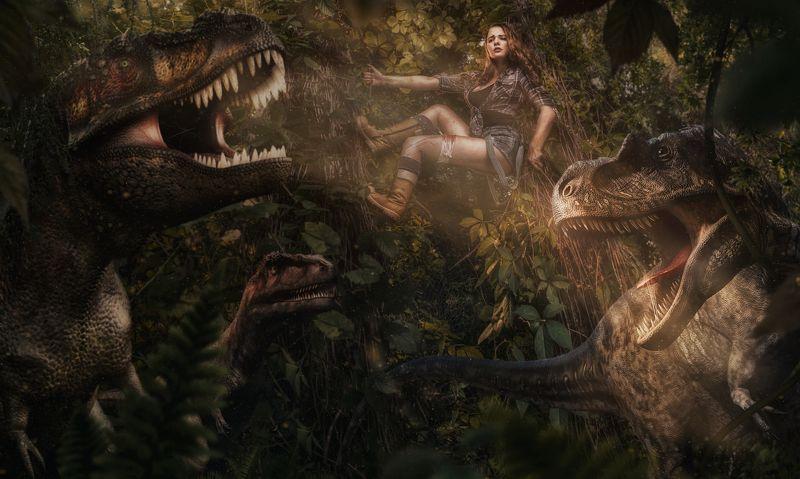 искатели, приключения, джунгли, девушка, динозавры, раптор, велоцираптор, дерево, стрбизм, волгоград, богомолов, фотоистории Искатели сокровищ: В западнеphoto preview