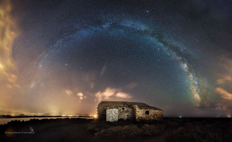 night, urbex, ruins, house, stars, arch, milky way Rainbow in the Darkphoto preview