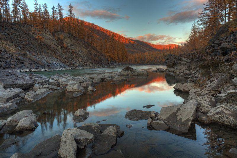 природа, путешествие, закат, осень, горы, река Осень в горахphoto preview