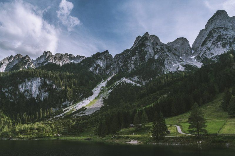 горы; озеро; лес; вечер; лето; путешествия Небесные скалыphoto preview