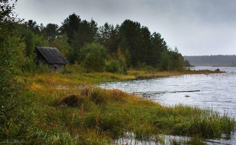 карелия, пейзаж, осень, октябрь, золото, закат, озеро, старая банька, саров Карельские мотивыphoto preview