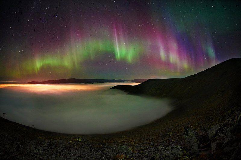 хибины,полярное сияние, кольский полуостров, север, осень,кировск Ночная прогулка над облакамиphoto preview