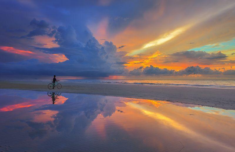 пейзаж,морской,закат,Борнео,путешествие,Малайзия,отражение, Закат в стиле Х rayphoto preview