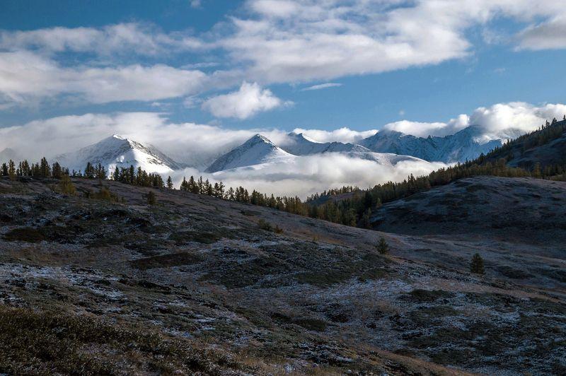природа пейзаж алтай утро горы вершины облака ештыколь курайский хребет На рассвете...photo preview