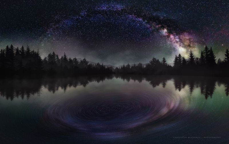 astrophotography, astronomy, galaxy, milky way, nightscape, night, sky, stars, long exposure, nature, bulgaria, space, panorama, lake, pinetrees StarGatephoto preview