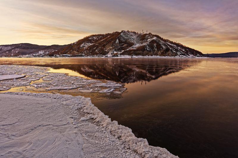 байкал, озеро, вода, снег, вечер Вечерние краски Байкала.photo preview