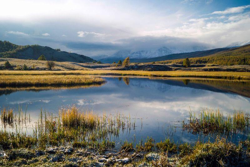 природа пейзаж алтай утро горы вершины облака ештыколь озеро отражение Ранним утром...photo preview