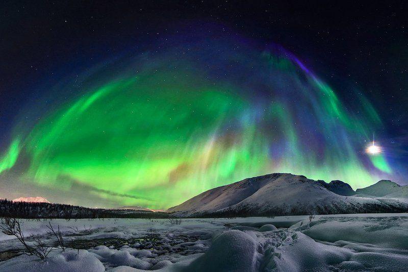хибины, горы, ночь, сияние, полярное сияние, луна, звезды, небо, зима, кольский, север, заполярье, путешествие Куполphoto preview