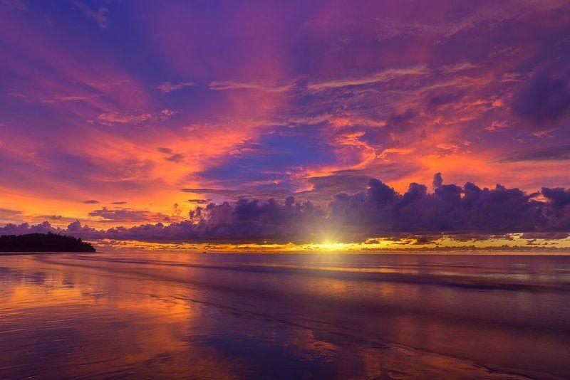пейзаж,морской,Борнео,закат,Малайзия,отражение,sunset,travel,Borneo< Вечерний цвет Борнео.photo preview