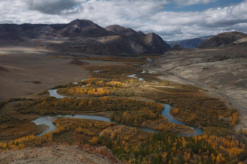 путешествия, чаган-узун, алтай, туризм, исследование, пейзаж, горы, река, хайкинг Вид с Красной горкиphoto preview