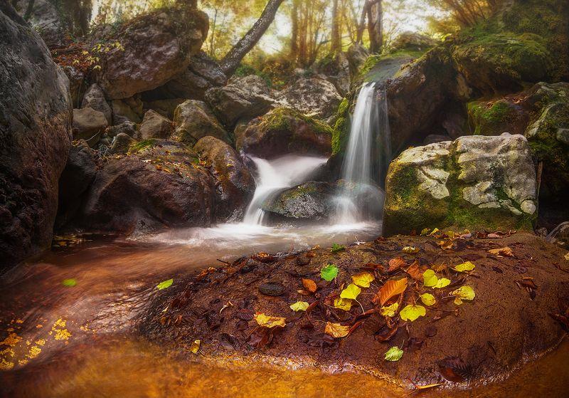 водопад, крым, лес, осень, большой каньон \