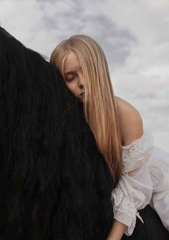 horse, model, long, hair, black, white Horse IIIphoto preview