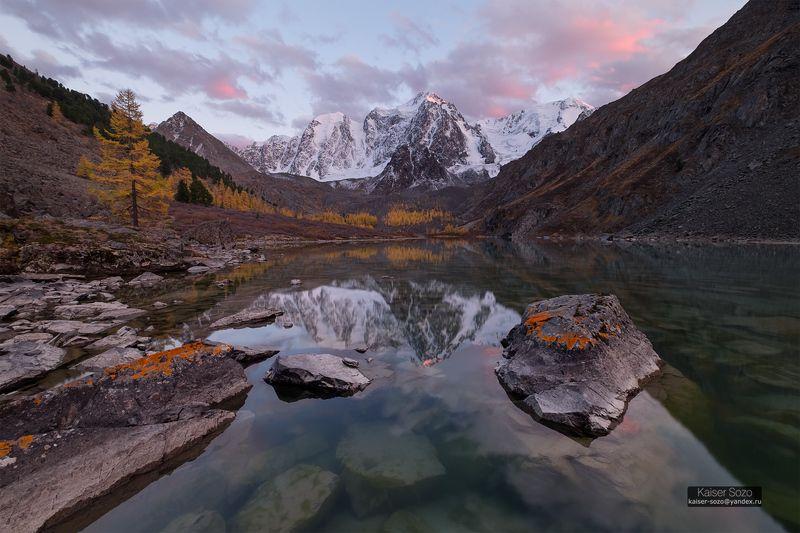 россия, алтай, горный алтай, шавла, шавлинские озера, шоры, отражение, закат, лиственницы Верхнее шавлинскоеphoto preview