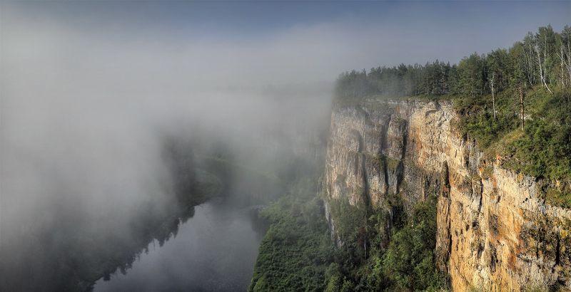 пейзаж, панорама, Урал, река, горы, Ай, туман, рассвет Утро на Айских притёсах..photo preview