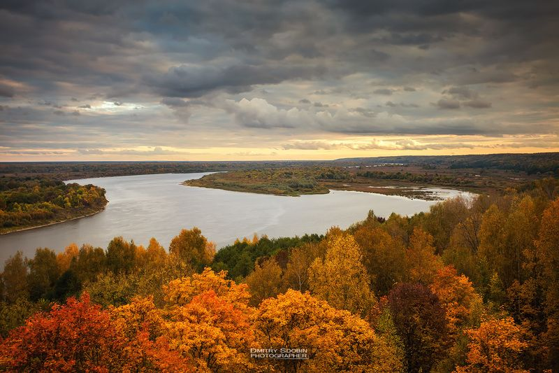 закат, река, природа, пейзаж, осень, облака, тучи, дождь Осень на Океphoto preview