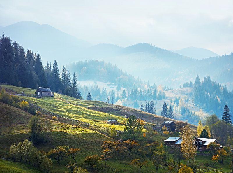 карпаты, горы, пейзаж, деревня, природа Карпатская пасторальphoto preview