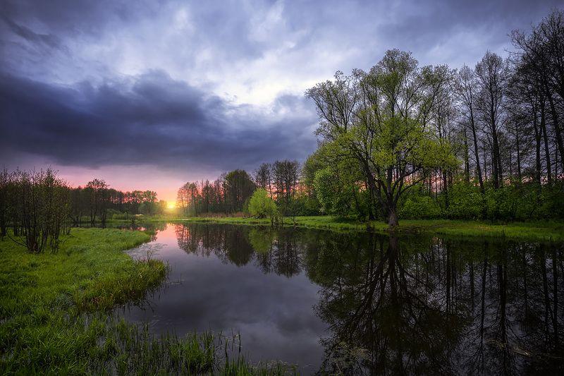 nature, landscape, pictures, sunset, riwer, река, унжа, меленки, природа, пейзаж, закат, небо После дождяphoto preview