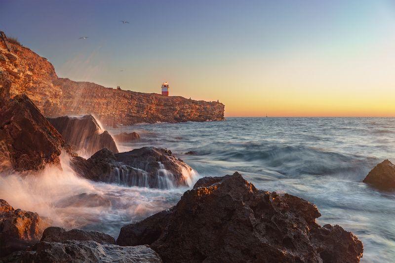 маяк, море, закат, берег \