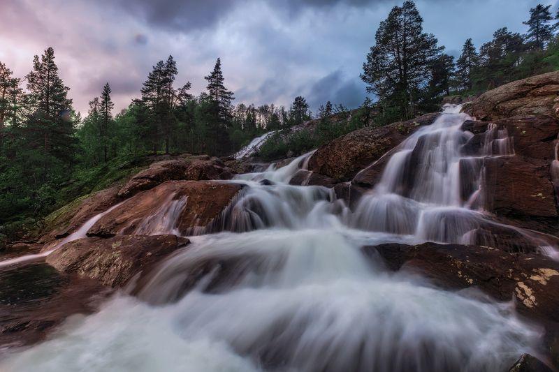 вечер, водопад, горы, камни, небо, облака, длительная, экспозиция Вечерний водопад.photo preview