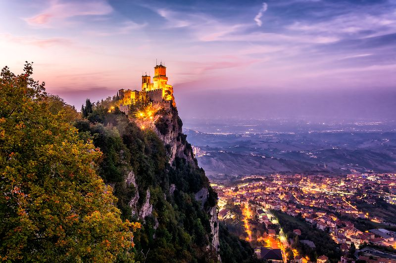 monte titano, castello, castle, night castle, san marino, guaita, la prima torre guaita, гуаита, сан марино Гуаита на закате.photo preview